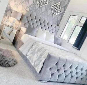 FLORIDA DIAMOND CRUSHED VELVET BED FRAME - 3FT 4FT6 DOUBLE 5FT KINGSIZE SALE ON