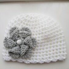 Baby Girl White and Grey Crochet Hat with a lovely large flower 3/6 mths