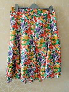 COTTON TRADERS WOMENS YELLOW MULTI LINED SKIRT LADIES UK PLUS SIZE 16-18 'Y97