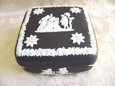 WEDGWOOD WHITE ON BLACK JASPERWARE SQUARE LIDDED BOX - MINT!