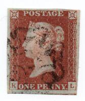 QV 1841 Sg 8 1d red brown plate 28 ( K L ) 4 margin light Maltese cross pmk.