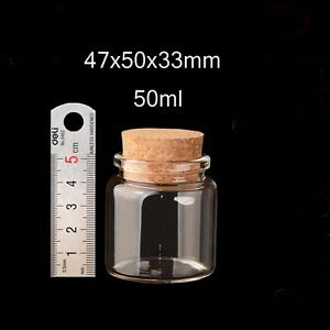 5pcs 50ml Transparent Vial 47x50mm Empty With Cork Lid Small Clear Glass Bottles