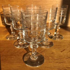 """Ensemble de 6 verres à vin forme """"Mirabeau"""" décor """"frise grecque encadrée"""""""