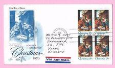 EE. UU. 1970 Art Craft FDC bloque de 4-Navidad Natividad Cds Washington & Eslogan