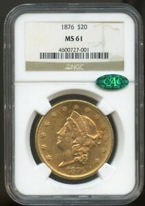 1876 $20 Gold Liberty Double Eagle MS 61 CAC NGC, Beautiful Luster!