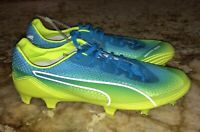 PUMA evoSpeed Fresh SL Blue Yellow Lightweight FG Soccer Cleats NEW Mens 7.5