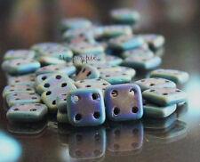 50 Matte Iris Blue Quadra Tile CzechMates Four Hole Czech Square Glass Beads