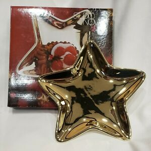 "8"" Star Shaped Candy Dish ""Christmas Shine Gold"" Studio Nova  Patriotic"