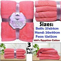 3 Pieces 100% Egyptian Cotton Towels BALE Set Soft Face Hand Bath Towel Bathroom