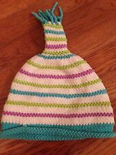LN OBERMEYER PRESCHOOL GRACIE KNIT HAT S/M girl Teal Cream purple winter EUC