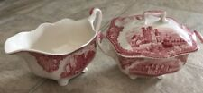 Johnson Bros Old Britain Castles Pink Creamer And Sugar Set with lid Crown Mark