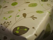 """GREEN LEAVES 54"""" WIDE OILCLOTH EASY CARE TABLE CLOTH  £4.75 SOLD BY THE METRE"""
