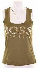 HUGO BOSS Womens Graphic Vest Top Size 10 Small Green Cotton  JR01