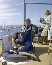 President and Mrs. John F. Kennedy watch America's Cup Race 1962 New 8x10 Photo