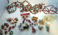 Huge Lot Christmas Ornaments Wood Bead Garland Tricycles Wagons Unique