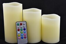 "Set of 3 Flameless Mulit-colored  ""Flame"" Ivory Pillar Candles w/Remote"