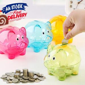 Bank Storage Box Cartoon Pig Children Gift Transparent Piggy Money Coins Box