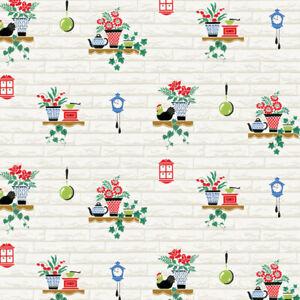 NEW!!  Bradbury and Bradbury Dollhouse Wallpaper - Cozy Kitchen