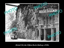 OLD LARGE HISTORIC PHOTO OF BRISTOL ENGLAND, THE CLIFTON ROCKS RAILWAY c1920