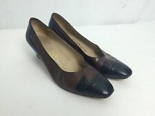 Vtg Ferragamo Black & Brown Leather Heels Pumps Size 9 EUC Italy