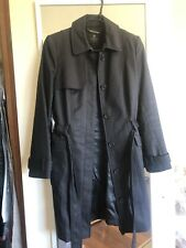 David Lawrence black trench coat, car length, sz. 8 - double breasted