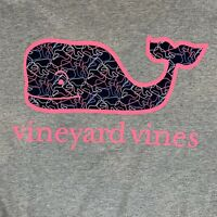 Vineyard Vines Womens Profile Whale Fill Logo L/S Pocket Gray T-shirt Sz L- NEW