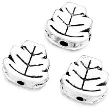 100pcs Retro Silver Alloy Carved Leaf Charms Spacer Beads Metal Craft Findings D