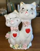 """Vintage CAT FIGURINE White With Hearts And Flowers 6"""" TALL- 2 Cats- MCM- Kitsch"""
