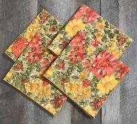 Set of 4 Vintage Printed Dinner Napkins Floral Vibrant Colors Cotton Blend
