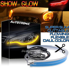 2x 60cm LED New Slim Headlight Strip Light DRL Sequential Flow Signal Red Yellow