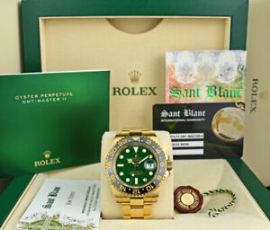 ROLEX - 40mm 18kt GOLD GMT Master II GREEN Dial 116718 - SANT BLANC
