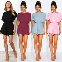 Womens Casual Mini Dress Short Sleeve Jumpsuit Rompers Strappy Playsuit Loose