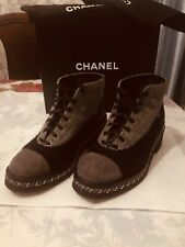Chanel Lace Up Tweed Booties color Black Gray size 39