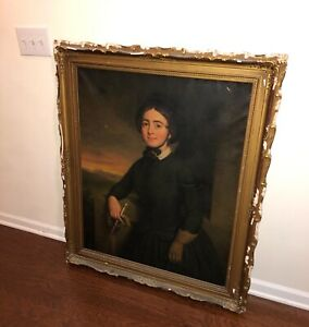 1851 PORTRAIT ID'd Woman HORSE CROP HAT Hair Antique Oil Painting Calvin Curtis
