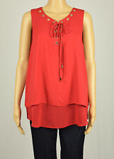 INC International Concepts Womens Red Lace-Up Double-Layer Blouse Top 16