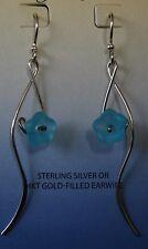 Jody Coyote Earrings JC0746 New Sterling Silver Blue flower dangle Made USA