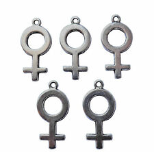 5 x FEMALE VENUS SYMBOL GENDER CHARM DOUBLE SIDED 25mm x 12mm SILVER COLOUR