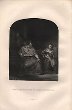 c1850 VICTORIAN PRINT ~ JOAN OF ARC EXAMINED BY THE BISHOP OF WINCHESTER