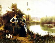 Nice Oil painting Two young women On the Way to Market by the river canvas