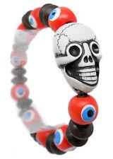 M1130 vogue women girl acryl skull wooden eye bead charm chain stretch bracelet