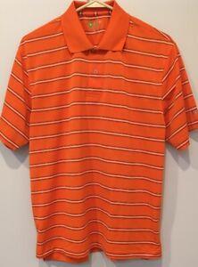 IZOD GOLF POLO SHIRT Mens Medium Orange White Striped Athletic Collar x-treme M