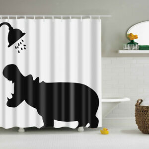 Shower Curtain Shower Hippo Bathroom Liner Fabric Sheer Panel with Hooks Set