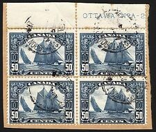 Canada #158 50c Dark Blue1929 Bluenose Used Plate A-2 Block of 4 on Piece Scarce