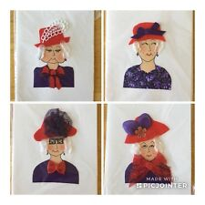 "5 Note Cards w/ Envelopes HAND MADE ""RED HAT SISTER"" Ladies Of Society UNIQUE!"