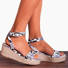 Snake Animal Print Ankle Strap Canvas Wedged Platforms Wedges Strappy Sandals