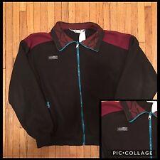 VTG Columbia Black And Maroon/Burgundy Fleece Full Zip Up Jacket Sz Men's Large
