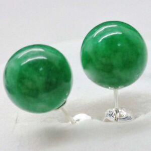Genuine 10mm Natural Green Jadeite Jade Round Gem 925 solid Silver Stud Earrings