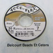 Accu-Flex 100% Brass Beading wire .019 in. (.48mm) 7 Strand 30 Ft. Roll