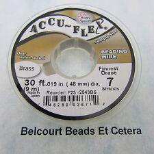 4 Rolls Accu-Flex 100% Brass Beading wire .019 in. (.48mm) 7 Strand 30 Ft. Roll