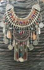 OOAK tan ethnic multi feather, leaf, tassel, coin statement necklace
